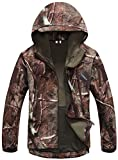 UDRES Men's Fleece Liner Outerwear Hooded Water Resistant Softshell Tactical Jacket (Large, Tree Camo)