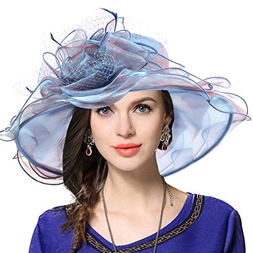 JESSE · RENA Women's Church Derby Dress Fascinator Bridal Cap British Tea Party Wedding Hat (Peacock Blue) (Kentucky Oaks Derby)