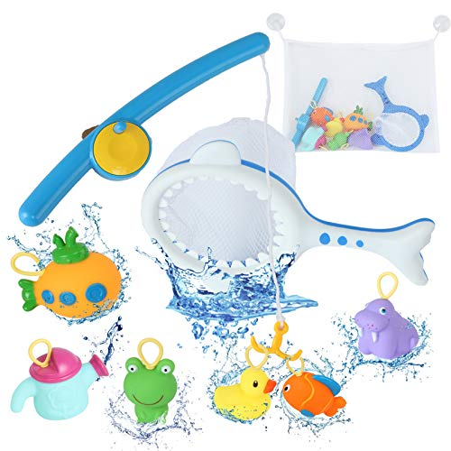 Bath Toys with Organizer Bag -Jaolex Fishing Games Toys Floating Squirts Animal Toys Bathtub Pool Water Spray Toys for Toddlers Baby Kids Infant