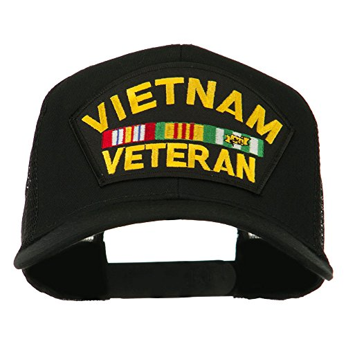 e4Hats.com Vietnam Veteran Military Patched Mesh Back Cap - Black OSFM