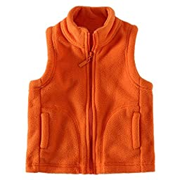 Yanzi6 Unisex-baby Super Soft Fleece Warmth Vests Zipper Pocket (7-8/Height 50-54 inch, Orange)