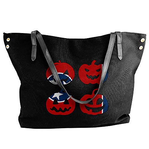 Tote Messenger Handbag Tote Shoulder Head Large Canvas Bag Halloween Women's Hobo Pumpkin Black Tennessee 67qzRW