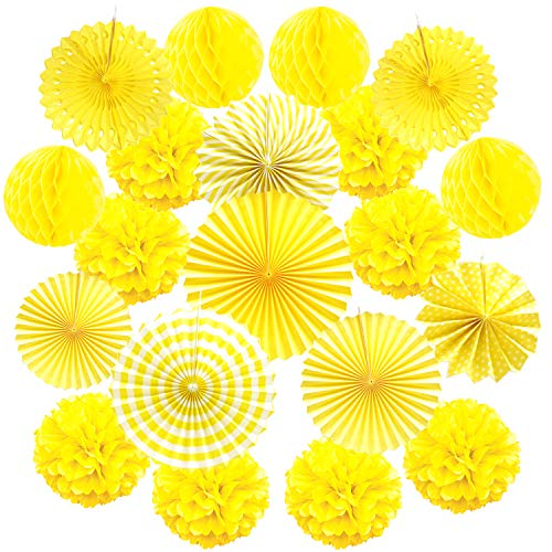 Cocodeko Hanging Paper Fan Set, Tissue Paper Pom Poms Flower Fan and Honeycomb Balls for Birthday Baby Shower Wedding Festival Decorations - Yellow -