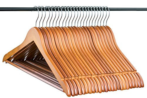 Light Cherry Everyday Wood Hangers with Non-Slip Bar and Notches, Super Sturdy and Durable Wood, 24 - Wood Light Cherry