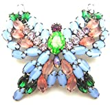 Rare Vintage Butterfly Brooch Pin Dragon's Breath Unsigned KJL Huge Blue Pink Pin Brooches for Women