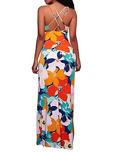 LiMiCao Women's Sleeveless Boho Floral Print Crisscross Back Maxi Long Dress (L, - 2017 Serial Indian