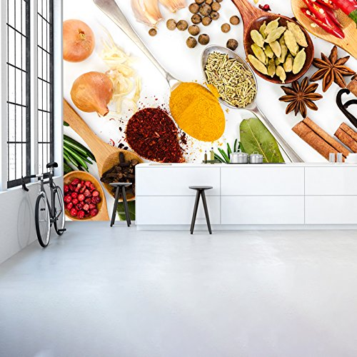 Spices & Spoons colorful Flavour Kitchen Wall Mural Food ...