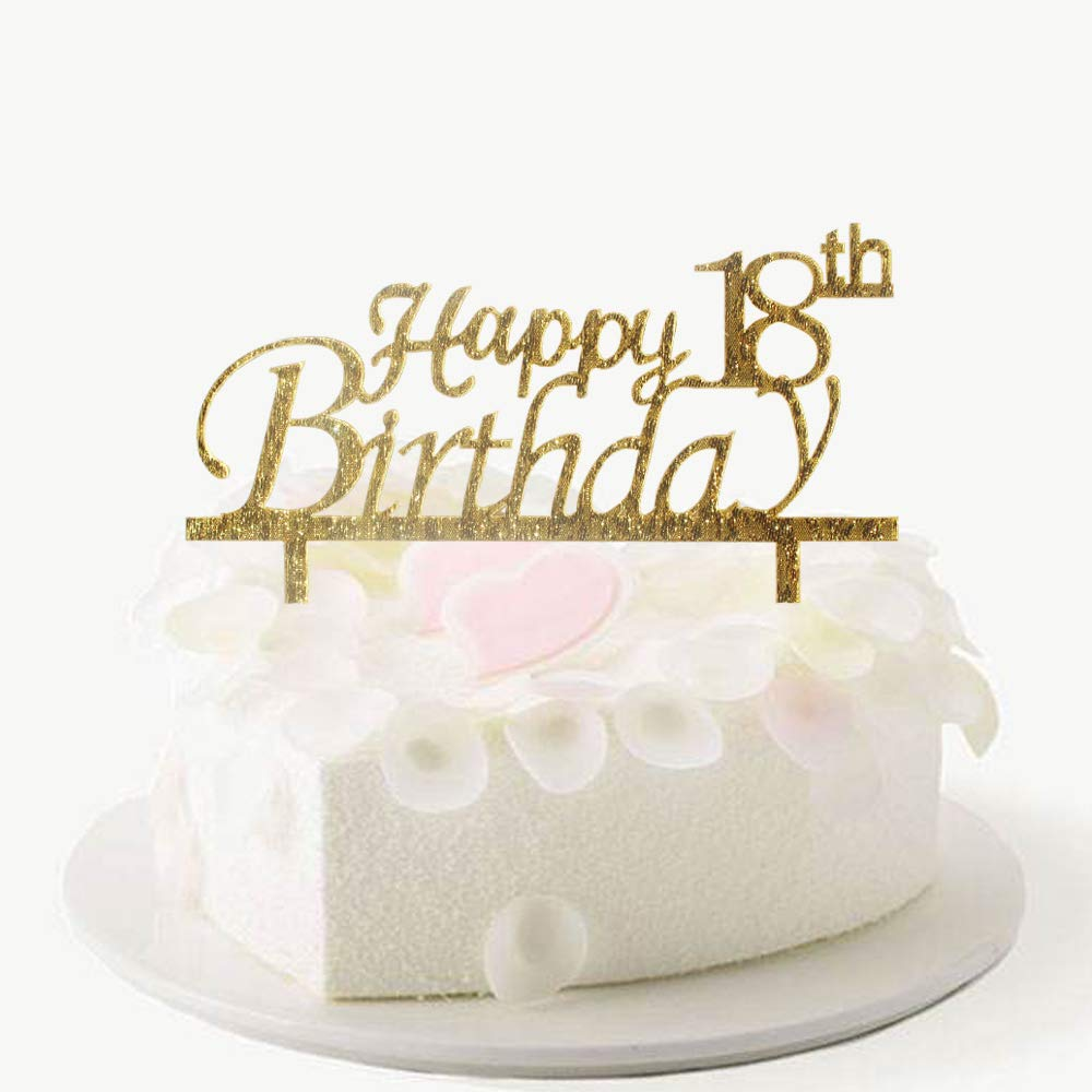 Happy 18th Birthday Cake Topper Gold Acrylic Party Decorations Amazon Grocery Gourmet Food