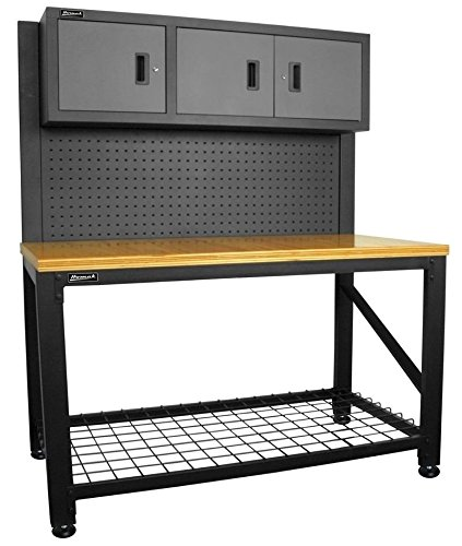 Homak 59 WOOD TOP WORKBENCH w/3 DOOR STEEL CABINET GS00659031 Workbench NEW by Home Buddy