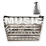 Trapezoid Toiletry Pouch Portable Travel Bag Piano Music Pen Organizer