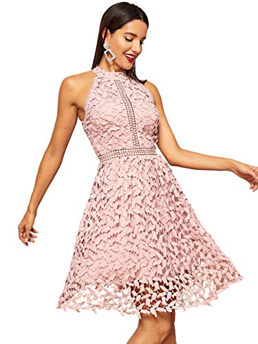 Floerns Women's Sleeveless Halter Neck Lace Cocktail Party A Line Dress Pink M