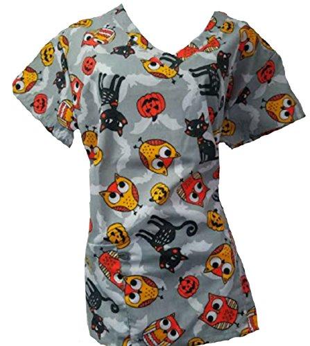 Halloween Scrubs (Halloween Scrub Tops Holiday Prints Sizes XS-2XL Medical Nursing NWT (M, Gray with)