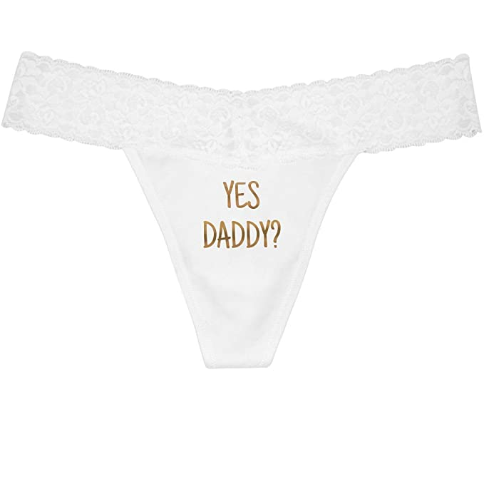 35ee97b1dd59 Metallic Gold Yes Daddy: Thong with Lace Underwear at Amazon Women's  Clothing store: