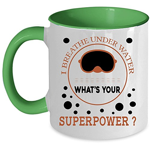 Awesome Gift For Scuba Diver Coffee Mug, I Breathe Under Water Accent Mug, Unique Gift Idea for Women (Accent Mug - Green)