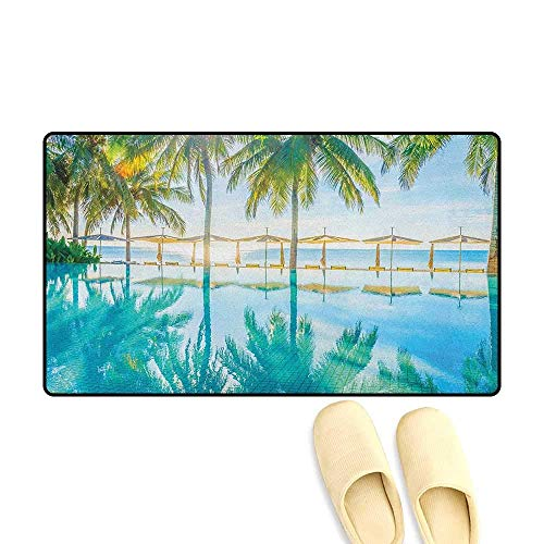 - YGUII Landscape Bath Mats for Floors Pool by The Beach with Seasonal Eden Hot Sunny Humid Coastal Bay Photography Size:16X23.6in (40x60cm) Green Blue
