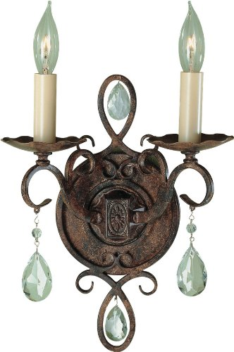 Traditional Crystal Glass Sconce - Feiss WB1227MBZ Chateau Crystal Glass Wall Sconce Candle Lighting, Bronze, 2-Light (9