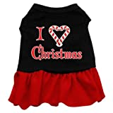 Mirage Pet Products 14-Inch I Love Christmas Screen Print Dress, Large, Black with Red