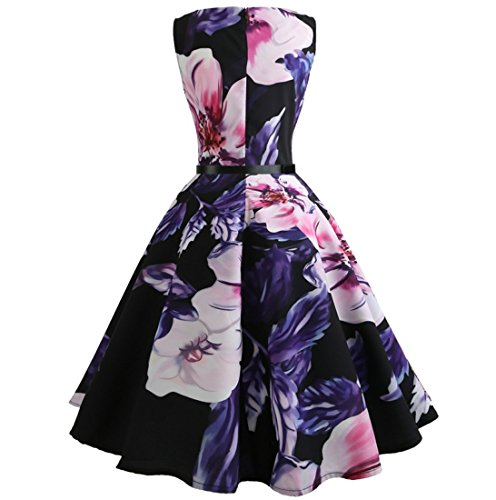 Retro Printed Party Picture Tea Big Dewapparel Women Cocktail Floral Dress Swing Boatneck Vintage OZqEF0xwp