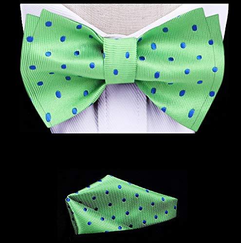 Twenty Dollar Tie Milan Polka Self-Tie Bow Tie Pocket Square Cuff-links Set (Green/Blue Dots)