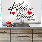 Red Kitchen Decor Witkey The Kitchen is the Heart of the Home Red Heart Wall Decal Sticker Art Mural Home Dcor Quote DIY