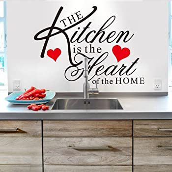 Witkey The Kitchen Is The Heart Of The Home Red Heart Wall Decal Sticker  Art Mural