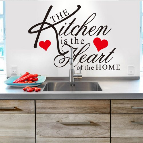 Witkey The Kitchen is the Heart of the Home Red Heart Wall D