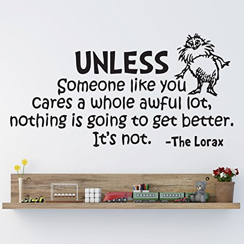 HUANYI Dr Seuss The Lorax Unless Someone Nursery Wall Art Vinyl Sticker Decal Mural