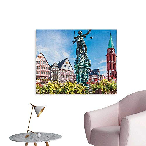 Anzhutwelve European Art Stickers Old City of Frankfurt Germany with Historical Buildings Statue Cityscape Scenery Funny Poster Multicolor W48 xL32 (Gucci Frankfurt)
