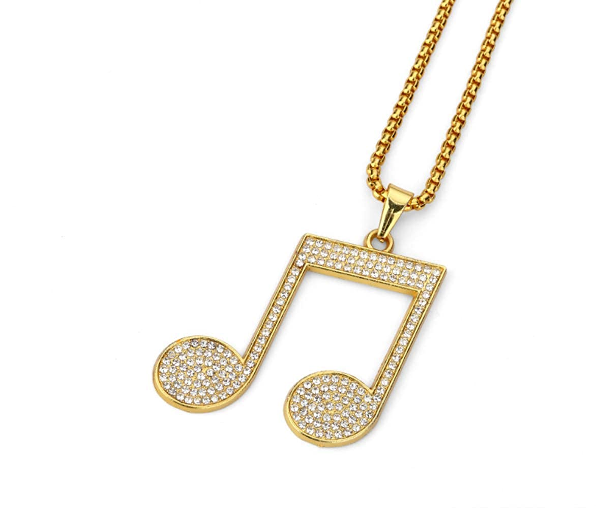 Alloy Rhinestone Music Pendant Bling Bling Necklace Crystal Pendant Rock Dj Hip Hop Jewelry For Men Women