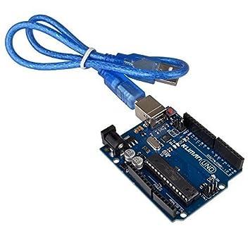 Kuman UNO R3 ATmega328P con Cable USB para Arduino - Compatible con Arduino UNO R3 Mega 2560 Nano Robot para Principiante de Arduino IDE AVR MCU K53 K53-UK