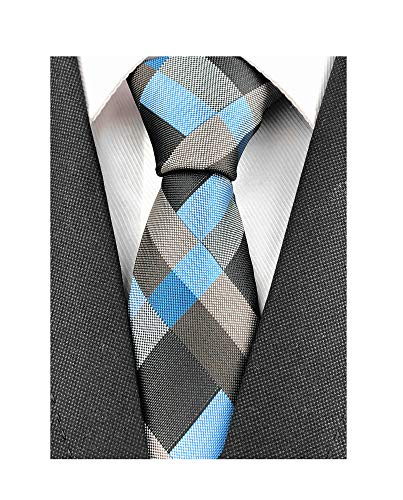 (Men's Boys Checks Blue Grey Party Jacquard Woven Tie Eco-friendly Business Slim Neckties)
