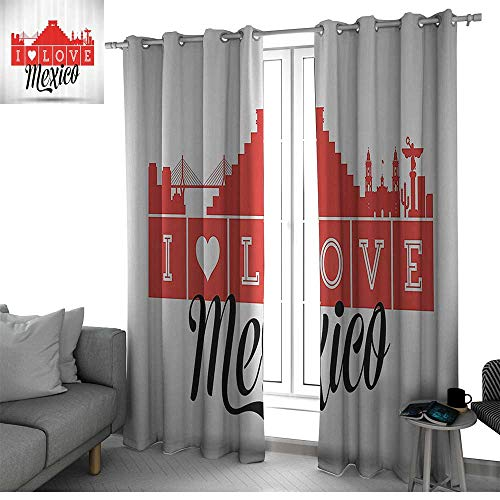 Mexican Decorations Collection Fade Resistant Polyester Microfiber Quotes I Love Mexico Skyline Monument Landmark Building Tourist Attractions Image Curtains for Bedroom Red Black W108 x L84 Inch