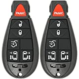 Mushan Pack of 2 Keyless Entry 6 Button Key Remote Control Replacement Fob Transmitter Fits For 2008-2015 Chrysler Town & Country, 2008-2010 Dodge Ram 1500 2500 3500,2008-2013 Jeep Grand Cherokee