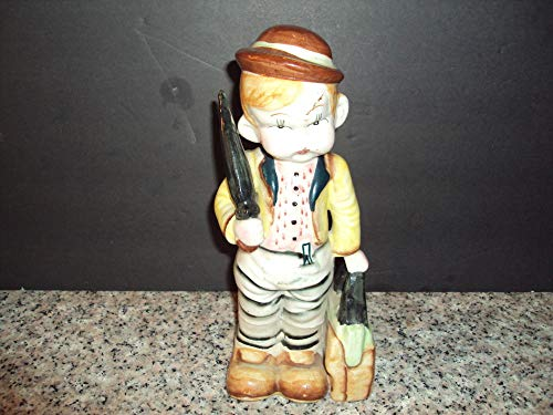 Painted Hand Umbrellas (Vintage Ceramic Pouty Boy with Suitcase and Umbrella Hand Painted Japan)