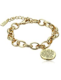 Classic Fashion Roy Croft Inspirational Quote Gift Heart Charm Link Bracelet in Gold Tone Plating