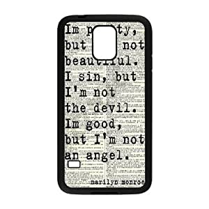DIY Cover Case with Hard Shell Protection for SamSung Galaxy S5 I9600 case with Marilyn Monroe Quote Queer902199