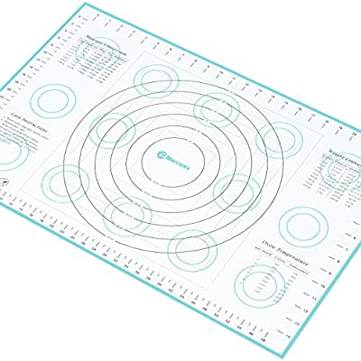 "Marcorex Extra-Large Silicone Pastry Mat with Measurements and Conversion Charts, Non-Stick Non-Slip, Fondant Mat, Cookie Rolling Dough Mat (X-Large (26"" x 17""), Blue)"