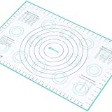 "Extra-Large Silicone Pastry Mat with Measurements and Conversion Charts, Non-Stick Non-Slip, Fondant Mat for Rolling Dough (X-Large (26"" x 17""), Blue)"