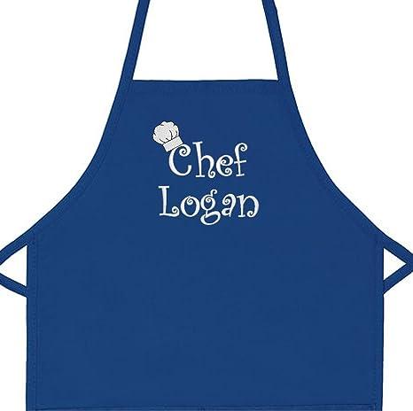Cappello da cuoco personalizzato nome grembiule con motivo ricamato  aggiungere un nome bambino 2 Pocket bavaglino 33b912e03fd2