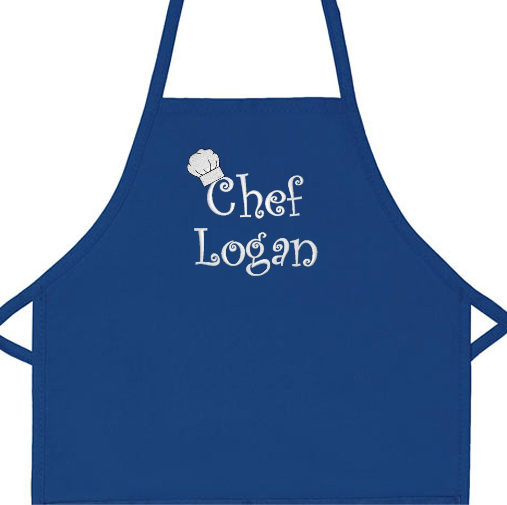 Personalized Chef Any Name Child Apron (Regular 20''L x 15''W, Royal, for ages up to 5 or 6)