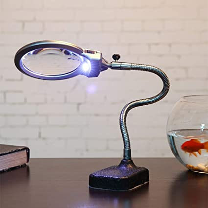 GZ Lupa de sobremesa Lámpara de Escritorio 2 Luces LED 10X ...
