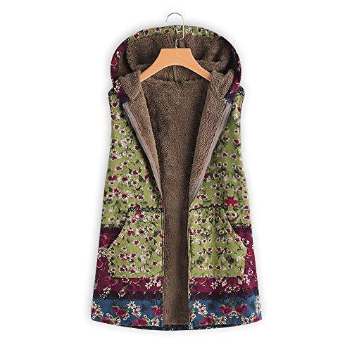 Imprimées Hasp Manches Longues Poches Lâche À Vintage Dames 1 Coton Hiver Binggong Capuche Outwear Vert Grande Manteau Chaud En Femmes Polaire Veste Plus Épais Taille 6wxTCPRqPH