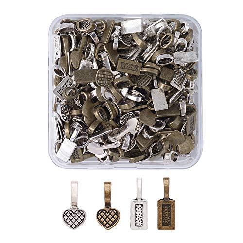 (Kissitty 200Pcs/box Tibetan Antique Bronze & Silver Glue on Bails 19~21x7~9mm Rectangle Heart Flat Pad Pendant Hanger Connectors)