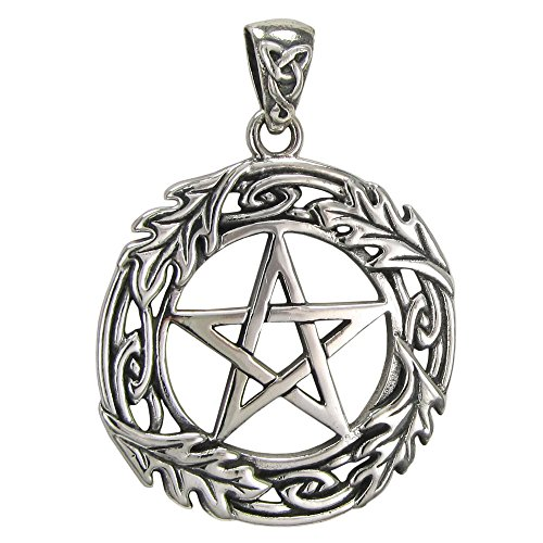 Sterling Silver Oak Leaf Pentacle - Silver Pendant Oak Leaf Sterling