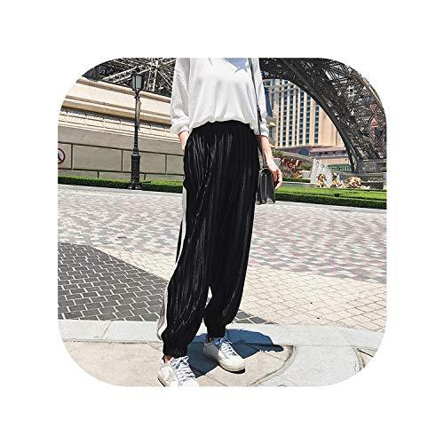 (Women Casual Pleated Radish Loose Bohemia Haren Lantern Wide Leg Elastic Waist Beachwear Female Pants,Black,L)
