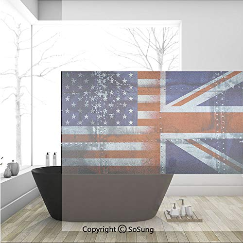3D Decorative Privacy Window Films,Alliance Togetherness Theme Composition of UK and USA Flags Vintage Decorative,No-Glue Self Static Cling Glass film for Home Bedroom Bathroom Kitchen Office 36x24 In