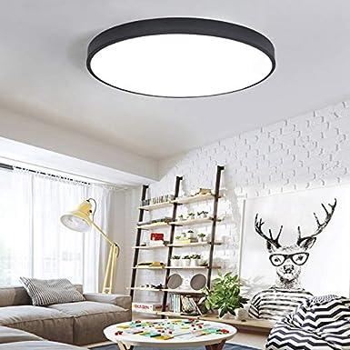SODIAL Eclairage de plafond a LED ultra-mince plafonniers pour le salon lustres plafond pour la salle plafonnier moderne hauteur 5cm 40 cm de diametre 27W Noir