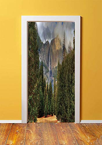 Yosemite 3D Door Sticker Wall Decals Mural Wallpaper,Yosemite Falls Evergreen Forest Fall Season Scenery Yosemite National Park Print,DIY Art Home Decor Poster Decoration 30.3x78.11654,Green -