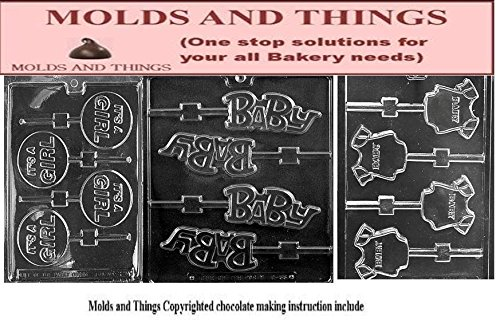 (It's a Boy Lolly Chocolate Candy Mold, Baby Shower Soap Mold Baby Onesie Soap chocolate candy mold Mold With Molding Instruction)