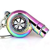 Maycom® Creative Spinning New Charming Neo Rainbow Turbo Turbocharger Keychain Key Chain Ring Keyring Keyfob,make Whistle Sound